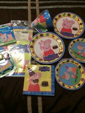 Peppa pig Birthday Party Supplies Candle Table Cover Plates Hats Napkins Invites