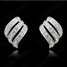 CLIP ON Earrings Crystal Silver Rhinestone Fake Studs Stud Non Pierced Clips UK