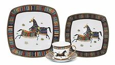 EURO Porcelain 75-Pc. Luxury Large Dinner Sushi Set, Service for 6 Horse Cheval