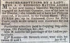 1856  newspaper w frontpage WOMEN DAGUERROTYPE & Illustrated Pistol REVOLVER ADS