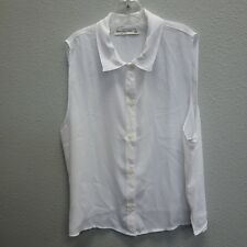 ABERCROMBIE New York Womens White Button Down Sleeveless Equestrian Shirt Top S