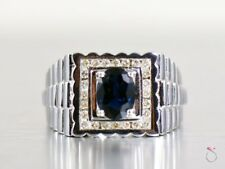 Men's Sapphire and Diamond 14k White Gold Ring