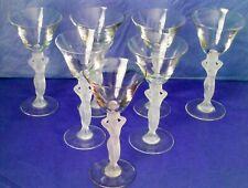 BAYEL Crystal France Elegant Frosted Nude Stem White Wine Glasses Set of Seven