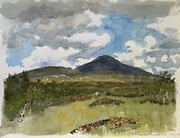 Karl Adser 1912-1995 Summer Landscape IN Tänndalen Meadow Sky Mountains Sweden