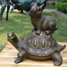 Art Deco Sculpture Classic fairy tale Turtle rabbit Bronze Statue L31