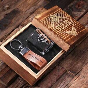 Personalised Shot Glass w/ Leather Keychain Box Gift Set for Ushers Groomsmen