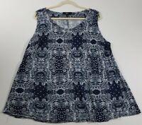 Ellos Women's Sleeveless Blouse Top 2X Plus Paisley Polka Dots Scoopneck Blue