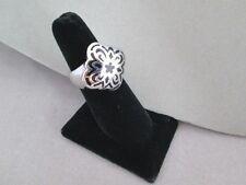 Ring Size 7 Black & Silver Flower Design New Stainless Steel 316L Never Tarnish