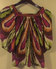 Women Silk Trina Turk butterfly puff sleeves top in multi-color art print