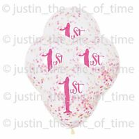 "1ST BIRTHDAY Clear Girl Party Decorations 12"" Latex CONFETTI BALLOONS x6"