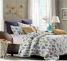 COASTAL DREAMS Full Queen QUILT SET : SEA SHELL BLUE BEACH HOUSE OCEAN BEDDING