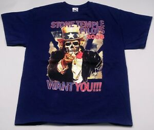 2008 Stone Temple Pilots Want You Tour T-Shirt Blue L Scott Weiland Graphic Tee