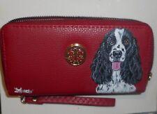 English Springer Spaniel dog Wallet for Women Hand Painted Vegan Wristlet