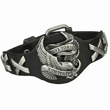 Harley Davidson HD Black Leather Men's Eagle Theme Bracelet 10""