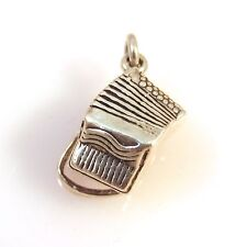 .925 Sterling Silver 3-D ACCORDION CHARM Pendant NEW Band Instrument 925 MC19
