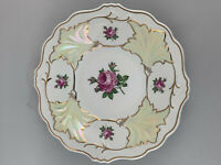 8640145 Porcelain Plate Weimar Thuringia Lustrated Gold Rose  Cake Plate