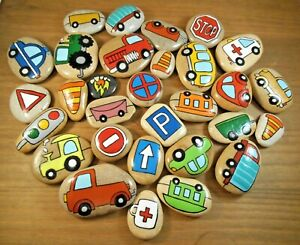 Painted rocks. Story Stones, transportation and emergency vehicles, 30 pebbles.