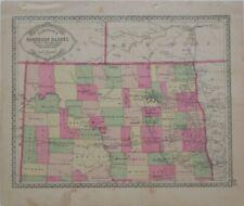 2 Original 1885 Tunison Maps DAKOTA TERRITORY Forts Railroads Indian Agencies