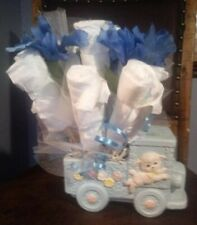 Beautiful Baby Diaper Bouquet in a Vintage Lamb/Train Blue Planter.