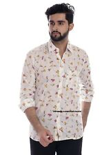 Mens Floral Printed Full Sleeve Casual Fit Shirts Tops Hand Block Printed Blouse