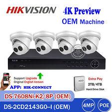 Hikvision Oem 4K 8Ch Security Nvr Kit 7608Ni-K2/8P 4Mp Turret Ip Camera System