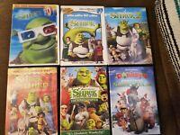 Preowned Shrek 1 2 3 4 Shrek DVD Movie Lot plus Donkey's Christmas & 3D Glasses