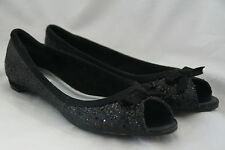 Metro 7 Black Glitter Open Toe Shoes Womens Size 8 1/2