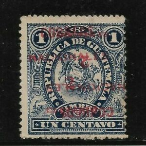 GUATEMALA 1898  INVERTED DOUBLE OVERPRINT MICHEL 84DD SCOTT 87 B