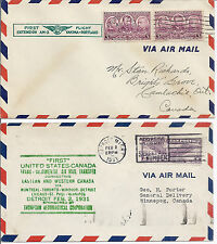 1931 1938 US Flight Cover Lot of 2 to Canada - AM 3 & Trans Continental - 787