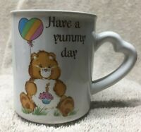 HAVE A YUMMY DAY MUG ceramic cup CARE BEARS vintage 1983 birthday bear