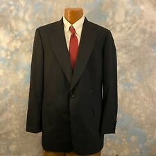 Paul Stuart Sz 44 R Black Wool One Button Men's Blazer Tuxedo