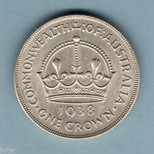 Australia.  1938 Crown...  Much Lustre..  gEF/aUNC