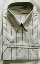 NEW Men's WAYNE SCOTT Button down WHITE w/Stripe SHORT SLEEVE shirt SZ: Medium