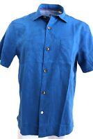 Mens $99 TOMMY BAHAMA Monaco Blue Camden Coast MEDIUM Cotton Silk Floral Shirt