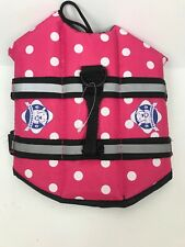 Paws Aboard PINK POLKA DOT Dog Doggy Pet Life Vest Jacket XS-LG Boat Pool