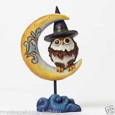 4047841 Pint Sized Owl on Crescent Moon Halloween Jim Shore Figurine Witch Hat