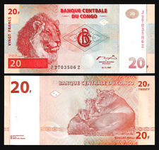 CONGO 20 FRANCS 1997 ,UNC , J-Z REPLACEMENT , P-88a LION