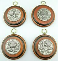 VTG Colonial Pewter & Wood Wall Hangings Plaques ~ Set of 4 ~ by Peter Roberts