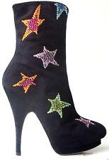 new $1585 Giuseppe ZANOTTI black JEWELED STARS platform ANKLE BOOTS 36 6 AMAZING
