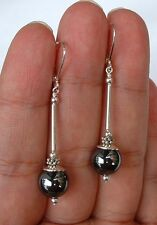 Smooth Round Hematite Sterling Silver Earrings -- Leverbacks  A0113