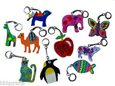 Wooden Key Rings For Kids To Colour/Paint Assorted Shapes Animals Fruit Pack 16