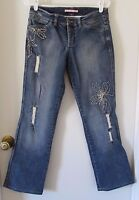 Gianni Bini Destroyed Blue Jeans Size 28 Floral Stitching Boho Low Rise Boot Cut