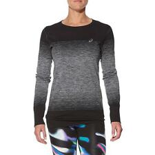 Asics Womens FUZEX Long Sleeve Seamless Running Tee T Shirt - Black | Pink