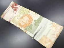 HIGH CLASS ANTIQUE HANHABA OBI FOR JAPANESE KIMONO, EARTH TONE FLORAL EMBROIDERY