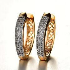 HUCHE Heart 18k White & Yellow Gold Filled Paved Diamond Sapphire Women Earrings