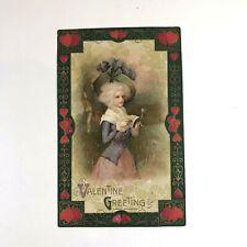 1910 Valentine Greetings Postcard Victorian Lady Fancy Hat John Winsch Germany