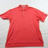 Men's Adidas Golf Pink Red Polo Short Sleeve Polyester Clima Cool Shirt Sz XL