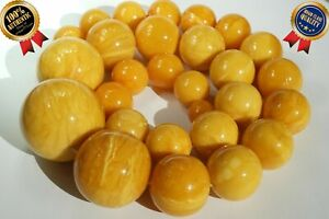 ANTIQUE YELLOW WHITE COLOR BALTIC NATURAL AMBER NECKLACE 234 GRAMS