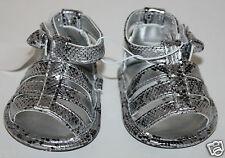 Koala Kids Infant Girls Silver Snake Skin Sandals Shoes Size 2 or 3-6 months NEW