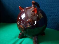 Red Clay Pig Bank With Handle Cork Stopper Vintage